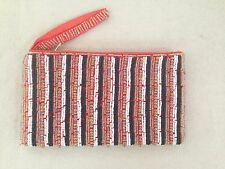Black Orange White Beaded Evening Bag Iphone ID Coin Purse Cosmetic Bag Clutch