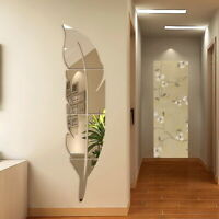 Removable 3D DIY Feather Mirror Wall Stickers Decal Art Vinyl Home Room Decor US