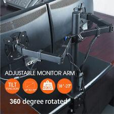 "Dual Arm Monitor Desk Stand Adjustable Bracket Tilt 2 Screen Mount Two 10""- 27"""