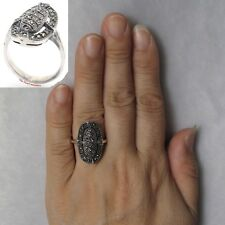 Beautiful Oval 925 Sterling Silver Studded Marcasite Cocktail Ring - TPJ