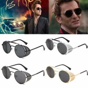 Polarised Steampunk Sunglasses Mens Brand Design Vintage Round UV400 Sun glasses