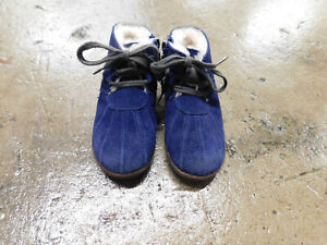 Toddler UGG lined Boots Suede 1012142T Bright Blue Pleated Tie side Zip Sz 8.5