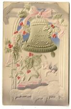 VINTAGE AIR BRUSHED CHRISTMAS POSTCARD ANGEL CHERUB BELL HOLLY CHURCH SNOW BOW