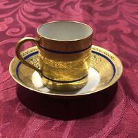 Antique E. BOURGEOIS PARIS 21 Rue Drouot Coffee Tea Cup & Saucer Demitasse