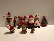 Vintage JSNY,Hallmark,Giftco, 80's Ceramic Wood Felt Christmas Ornaments Taiwan