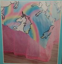 Justice Girls Pink Sequin Bed Skirt Tulle Sequins Bedskirt Queen New Sold Out
