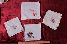 Lot Of 4 Vintage Hand Emb Rose Petit Point Linen Handkerchiefs