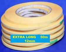 12mm Double Sided Adhesive Sticky Tape Easy Lift Paper Cardboard EXTRA LONG 50m