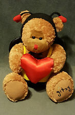 """Beverly Hills Teddy Bear Company GLITZY Bee Outfit Holding Red Heart 8"""""""