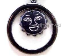 "SALE Big 38mm Circle & Sun Smile face Pendant Black Hematite 18"" Necklace-n5619"