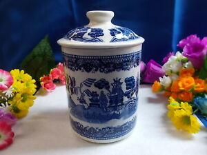 LOVELY BLUE AND WHITE LIDDED POT - UNBRANDED 16 1/2 cm HIGH WITH LID # M 195