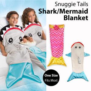 Snuggie Tails Shark Mermaid Blanket One Size Wearable Blanket Hands Free