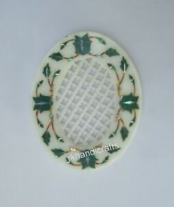 Malachite Stone Inlay Soap Dish Marble Soap Case with Filigree Work 5 x 4 Inches