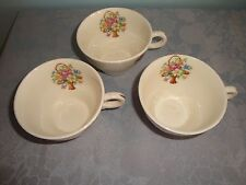 Salem Basket Petit Point Lot of 3 Cups Gold Trim on Handles Victory Shape