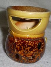 """3"""" Tall Ceramic Oil Warmer in Dk.Brown & Tan Glaze w/Window for Candle&Bowl"""