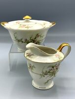 Theodore Haviland New York ROSALINDE Pattern Lidded SUGAR BOWL CREAMER Red Stamp