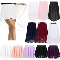 Kids Girls Chiffon Ballet Leotard Skate Tutu Pull-on Skirt Dance Pleated Dress