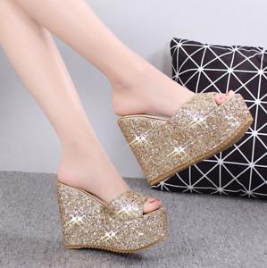 Summer Women Wedge High Heel Peep Toe Platform Mules Slipper Sandals Shoes Slip