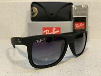 New Ray-Ban Justin Wayfarer POLARIZED RB4165 622/T3 Black/Grey Gradient 55mm