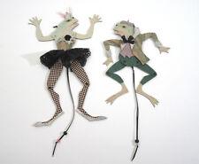 Lot 2 Dee Segula Frog Ballerina Handmade Mixed-Media Pull Toy Marionette Puppet