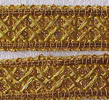 10 Yards. Metallic Ribbon Trim. Gold