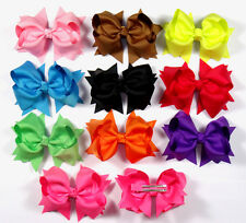 "4"" 10 lot Baby Infant Girl Costume Boutique Hair Bows Clips Xmas H1"