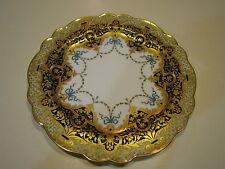 Antique Royal Worcester Plate Blue Gilt Rose Museum Quality 1900's 9.8''