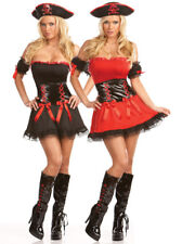 REVERSIBLE PIRATE Lady Costume w/ Hat Red Black Dress Eye Patch Large 10 12 14