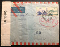 1944 Geneva Switzerland Censored Airmail OAT Cover To Haifa Palestine