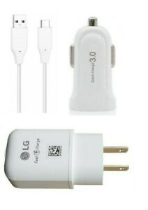 LG V20/V30/V40/V50/V60 ThinQ LG OEM Fast Wall Adapter, LG OEM USB-C, QC 3.0 Car