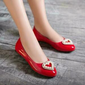 Womens Sweets Comfortable Pu Patent Leather Flats Loafer Slip On Casual Shoes