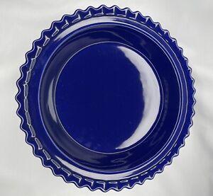 Vintage Chantal Bakeware Cobalt Blue Pie Plate Dish Scalloped Edge 1 qt