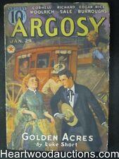 Argosy Jan 29, 1938 Edgar Rice Borroughs , Cornell Woolrich, Luke Short Cvr stor