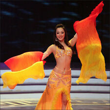 Colorful Belly Dance Dancing Costume Long Silk Fans Veil Fan Stage Performance