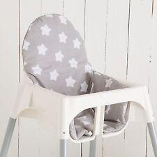 """Sitzkissen """"Sterne grau"""" für Ikea Antilope Hochstuhl, u.v.m., 2-seitig"""