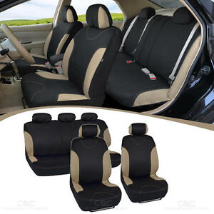 9 PC Car Seat Covers Set Full Interior Split Bench Rear Beige/Black Sedan Truck