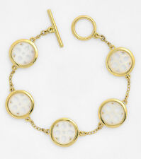 Ralph Lauren Gold Tone JAIPUR Mother Of Pearl OpenworkToggle Bracelet NEW