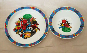 Kids Spiderman  2 Piece Micro Safe Plate & Bowl Mealtime Set 3 Yrs +New