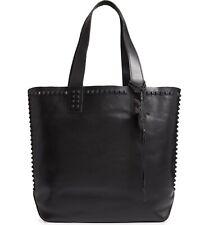 New Frye Carson Mono Stud Studded Black Leather Satchel Tote Purse Handbag Bag