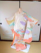 Furisode Silk Kimono Women Wedding Dress Gorgeous Embroidery Japanese vintage