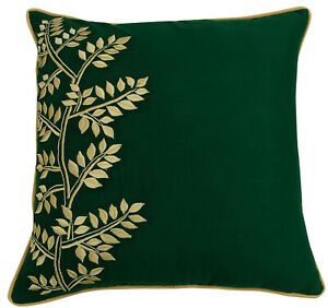 S4Sassy Leaf Embroidered Green Pillow Cover Square Cotton Cushion-xHz