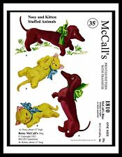 1810 Betsy McCall's Fabric Sewing Pattern DOG NOSY CAT KITTEN Toy Stuffed Animal