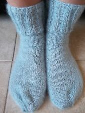 Hand knitted mohair/wool fuzzy socks, light silvery gray