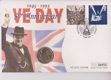 QEII  PNC COIN COVER 1995 50th ANNIVERSARY VE DAY WWII £2 MERCURY B/UNC
