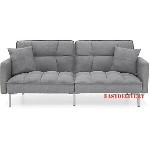 FUTON Convertible Linen Tufted Sofa Couch w/ Pillows College Dorm EASY DELIVERY