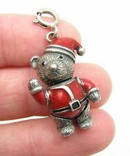 Sterling Silver Enamel Christmas Santa Claus Teddy Bear Articulated Moving Charm