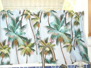 PAIR Tropical Hawaiian Barkcloth Fabric CAFE' CURTAINS ~Palm Trees- Blue Gray~