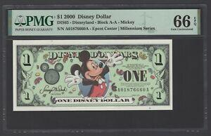 Disney Dollar 1 $  2000 DIS65 Mickey Block A-A Uncirculated Grade 66