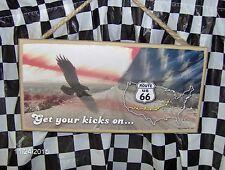 "Get Your Kicks on Rte U.S 66 10"" x 5""  Wood Sign"
