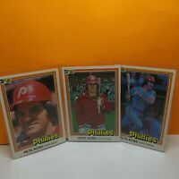 1981 Topps Pete Rose Phillies Complete 3 Card set NM/ MN Card # 131,-251,-371